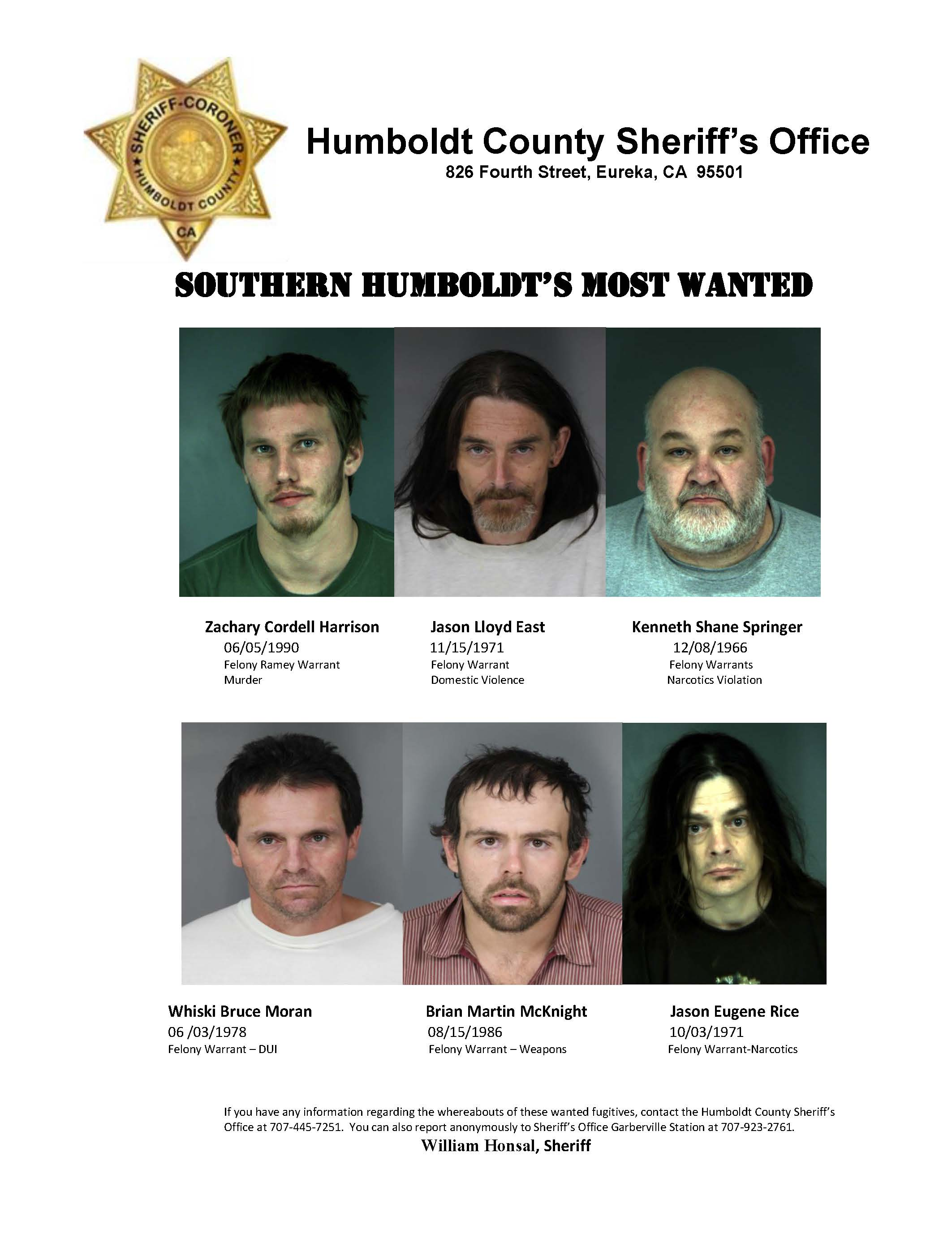 Most Wanted | Humboldt County, CA - Official Website