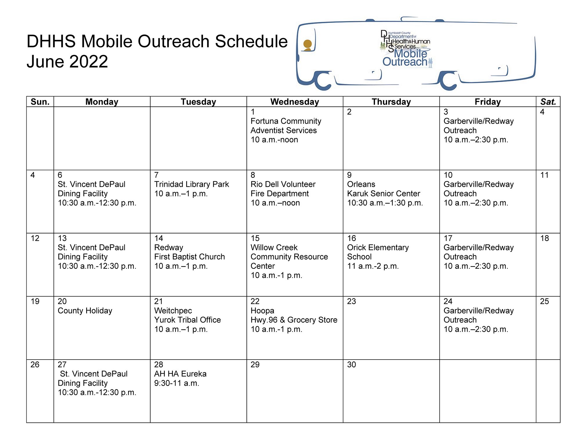 Department of Health & Human Services Mobile Outreach Schedule: Click for Accessible PDF