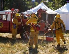 Firemen Outside of Tent