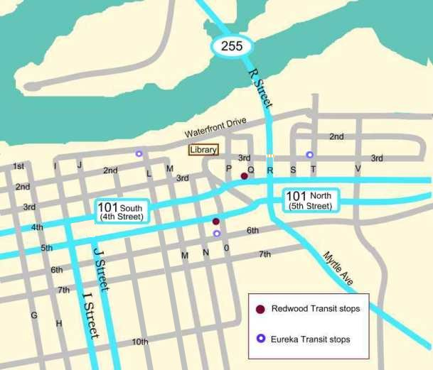 Bus Route Map to Eureka Library