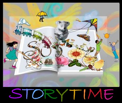 Image, a train, flowers, a koala, a kite, and more emerge from the pages of a storybook.