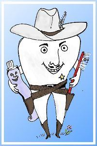 Image, a molar wearing cowboy hat, boots, star, and carrying a toothbrush and toothpaste.