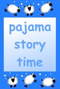 Image, sheep play among the stars around the words pajama story time.