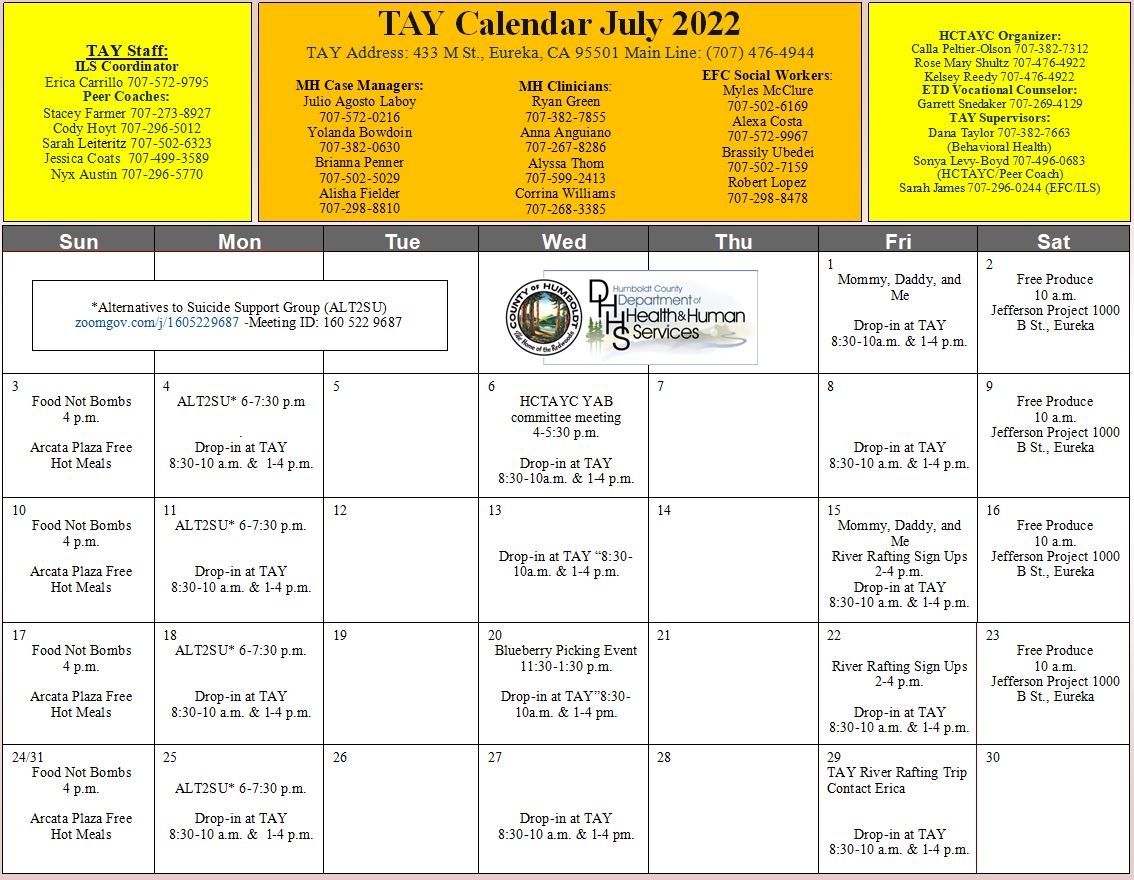 Monthly events calendar for Transition-Age Youth (TAY)
