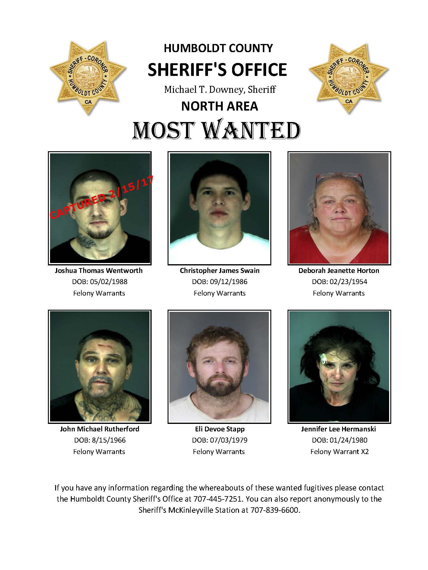 North Area Humboldt Most Wanted