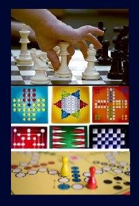 Image, a small hand moves a chess piece, with other colorful game boards shown below.