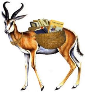 Image, a Springbok is an animal like a gazelle, here carrying baskets of spring books.