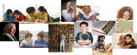 Photos of a variety of people who are readers.