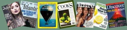 Image, sample covers of the magazines  Inked, Atlantic, National Geographic, Cooks, Allure, Preventi