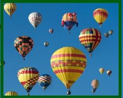 Image, festive air balloons soar into the sky.
