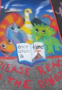 Image, Chalk drawing of four young dinosaurs waiting for you to read a story.
