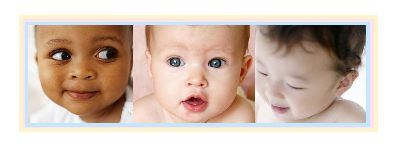 Three baby faces, of diverse ages and races, and equal charm and innocence.