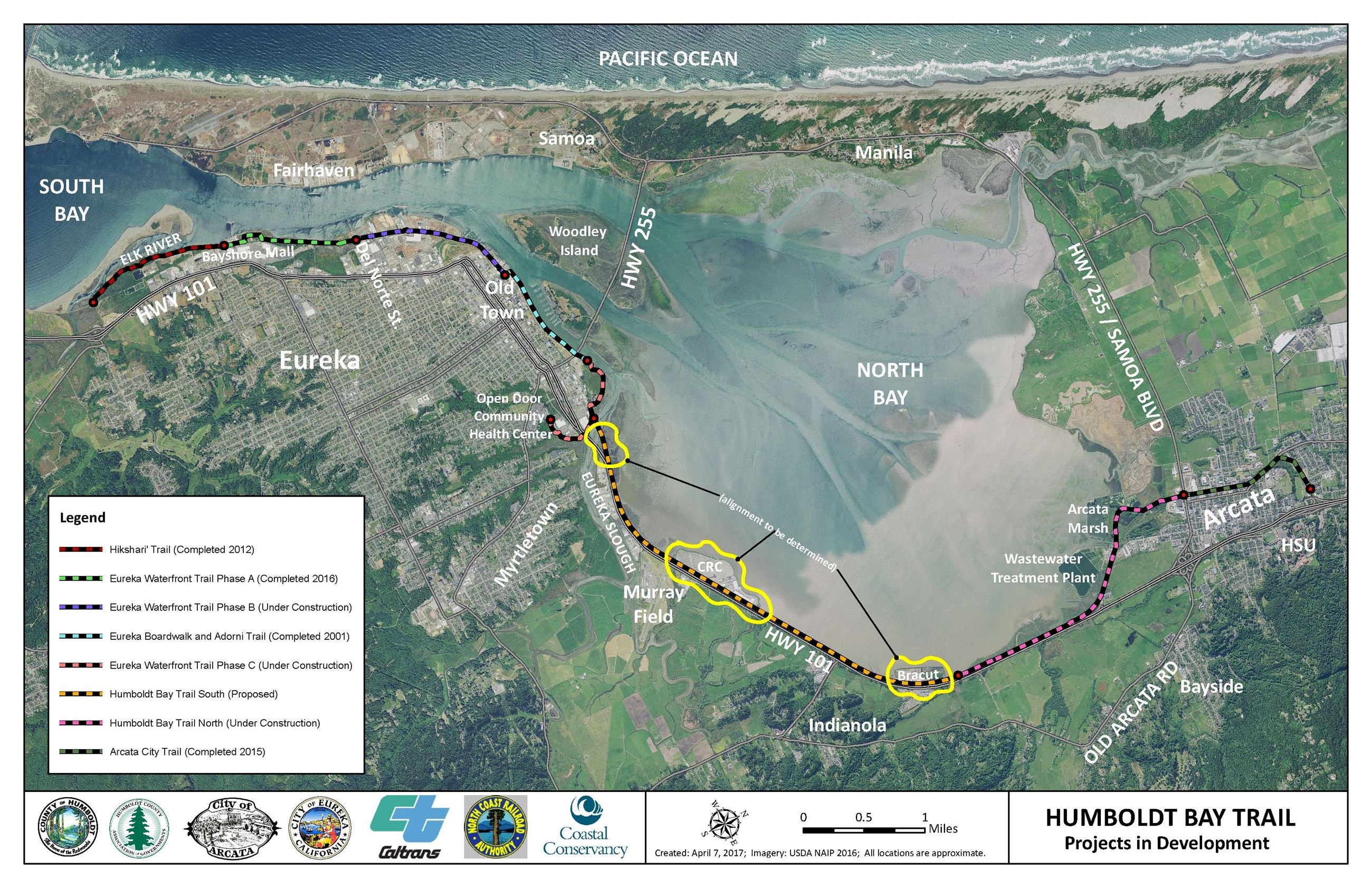 Humboldt Bay Trail Aerial Map