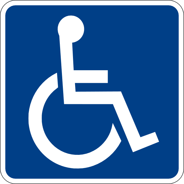 White Wheelchair logo on blue background