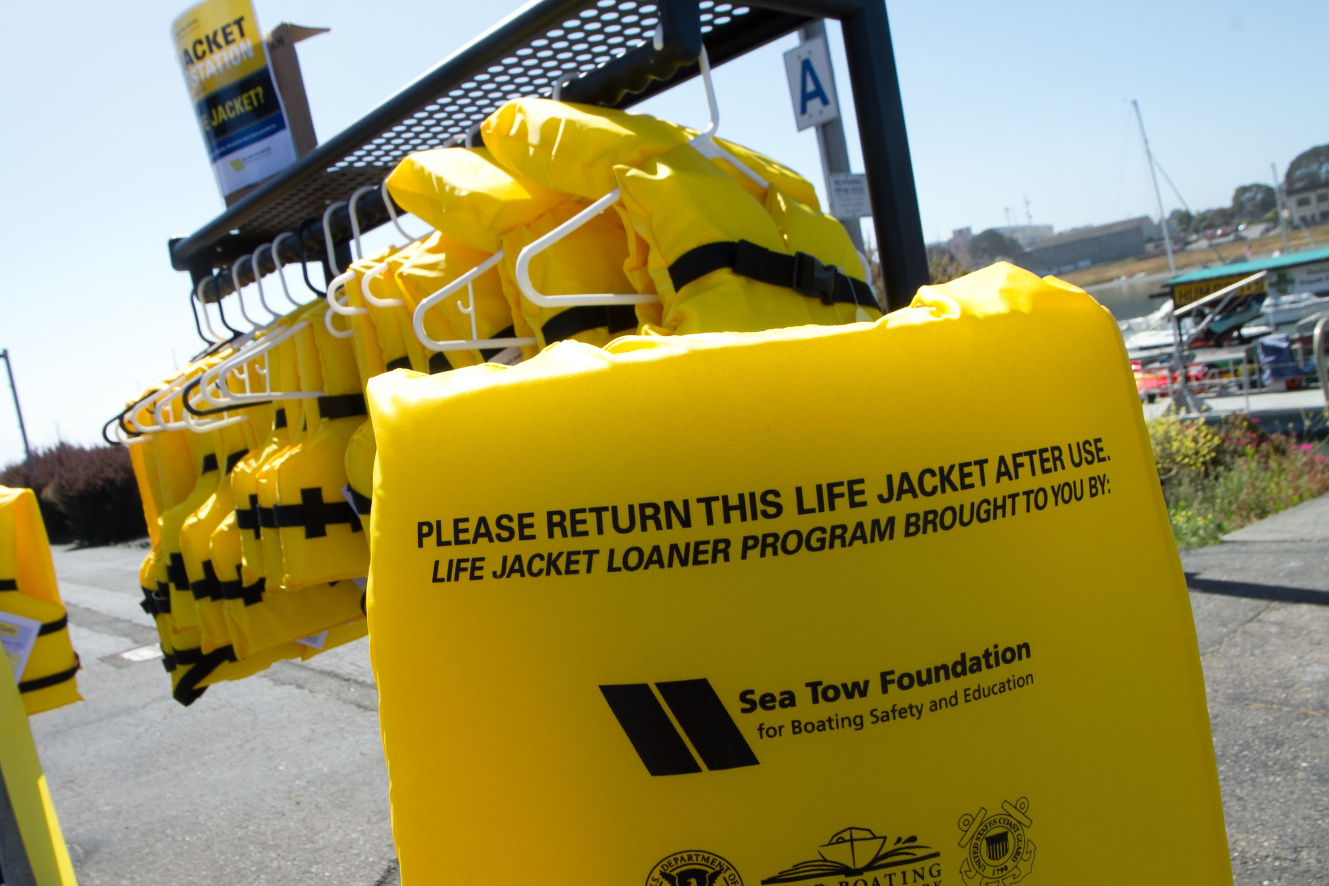 Brightly colored life jackets are available to borrow at loan stations throughout Humboldt County.