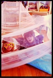 Two children in a fort they built.  A photo by Jory.