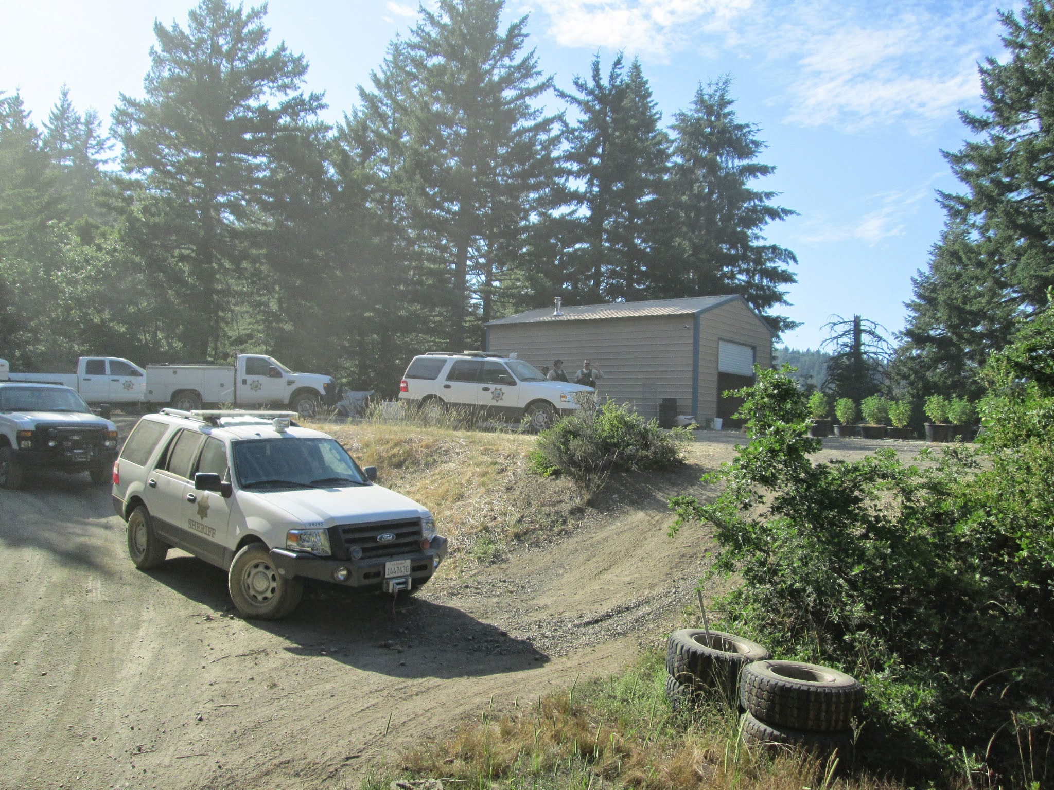 Sheriff's Deputy vehicles at an illegal grow site