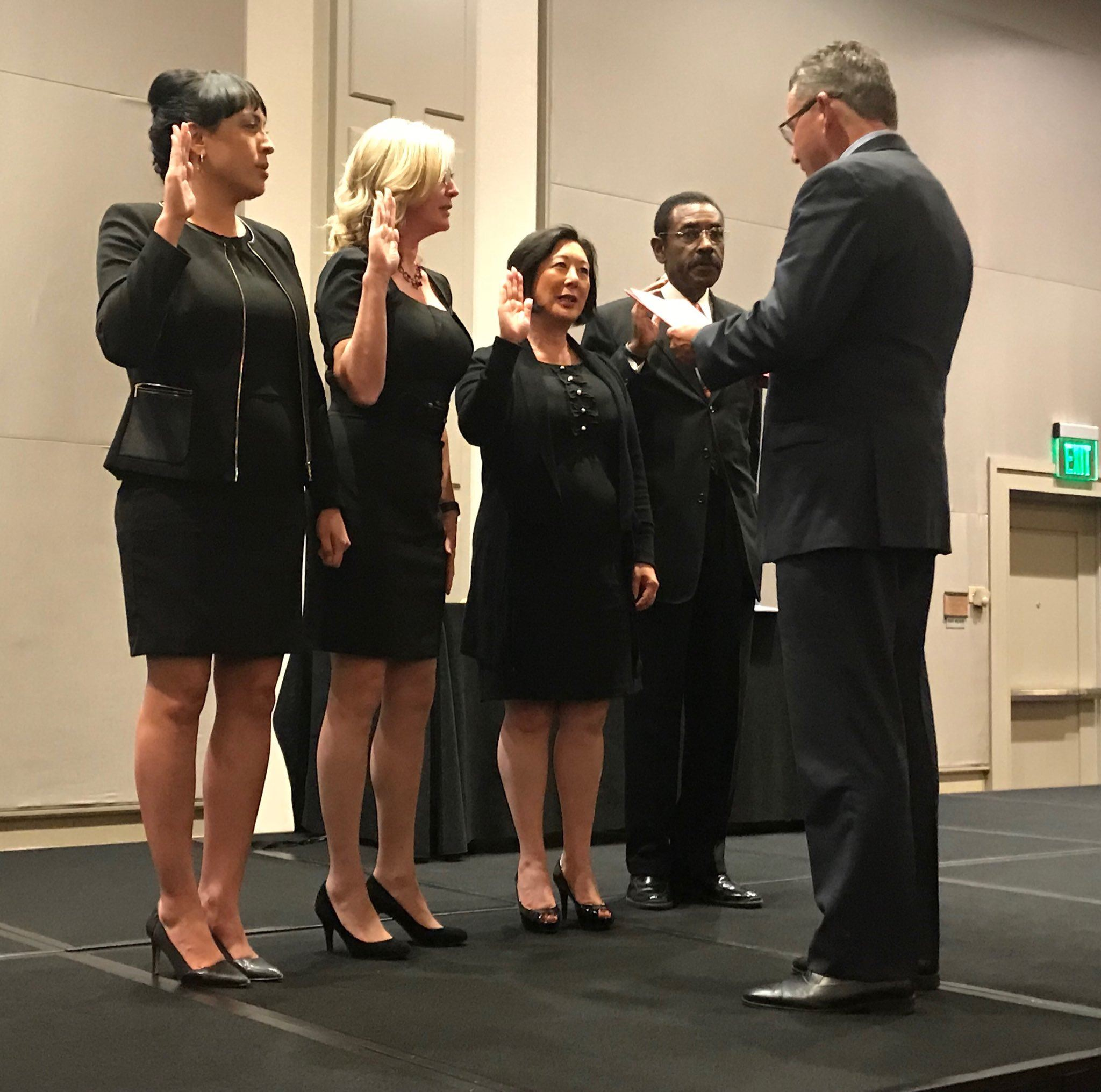 Supervisor Virginia Bass, second from left, is installed as the First Vice President for CSAC on Thu