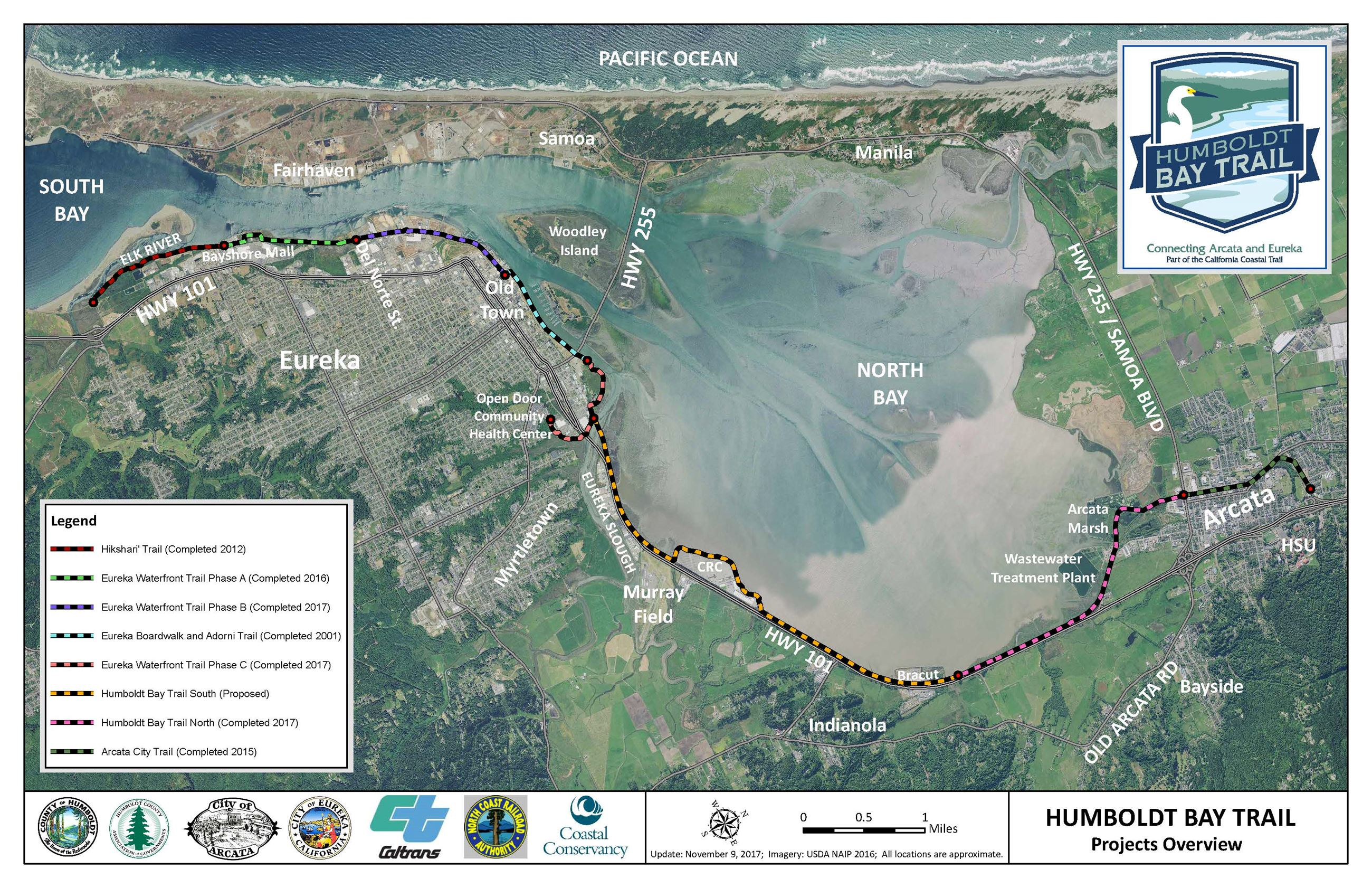 Humboldt Bay Trail Projects Overview Map November 2017