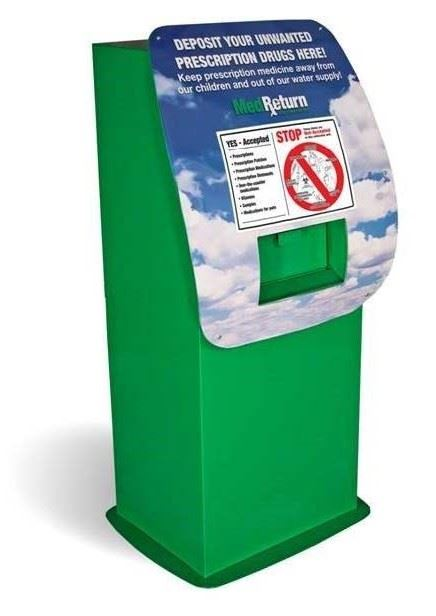 Large bins are available at local pharmacies to dispose of old medications.