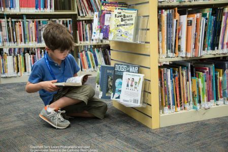 A boy kneels to look a book from the library shelves.