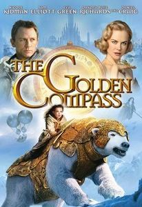 Lyra rides a great white bear in ornate armor on the film poster.