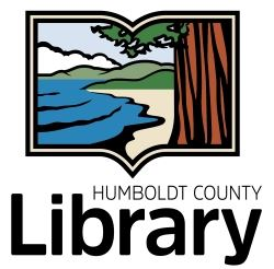 The library logo - framed by a book, a mighty redwood stands by water and hills.
