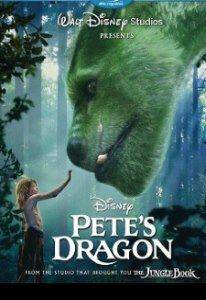 A wild forest boy reaches up to pet the nose of a giant green-furred dragon.