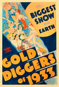 Thirties showgirls in scanty costumes show off their legs on the film poster.