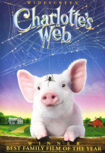 Wilbur is a cute white piglet, with his spider friend Charlotte dangling above.