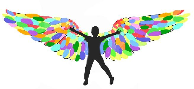 A child spreads arms wide and colorful wings appear behind the arms.