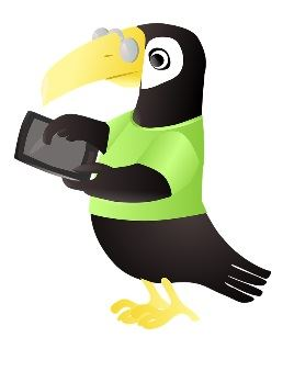 A cartoon toucan touching a tablet computer.