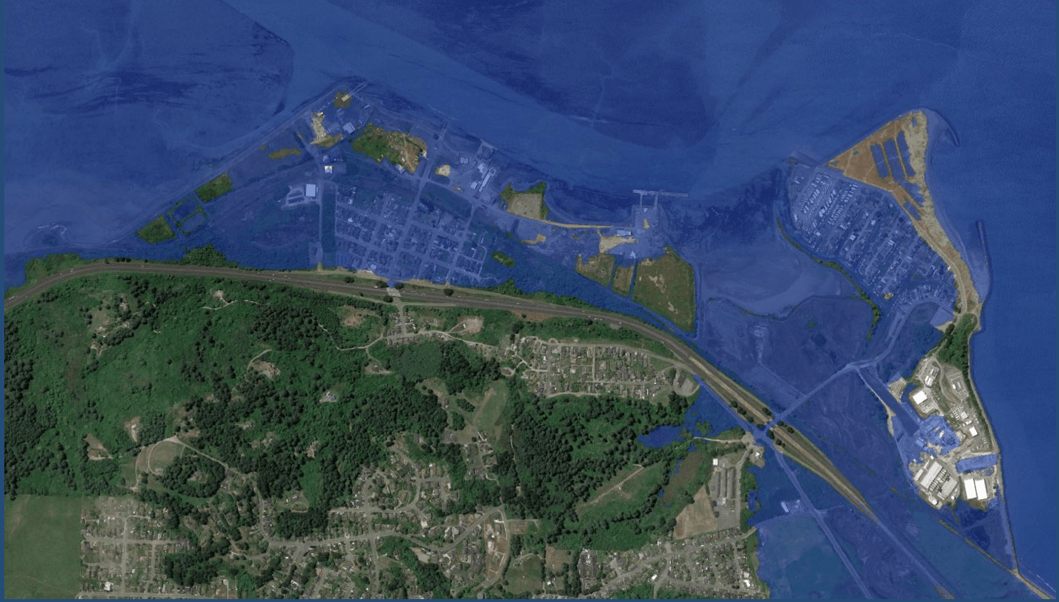 Map showing King Salmon inundated by 3 feet of water