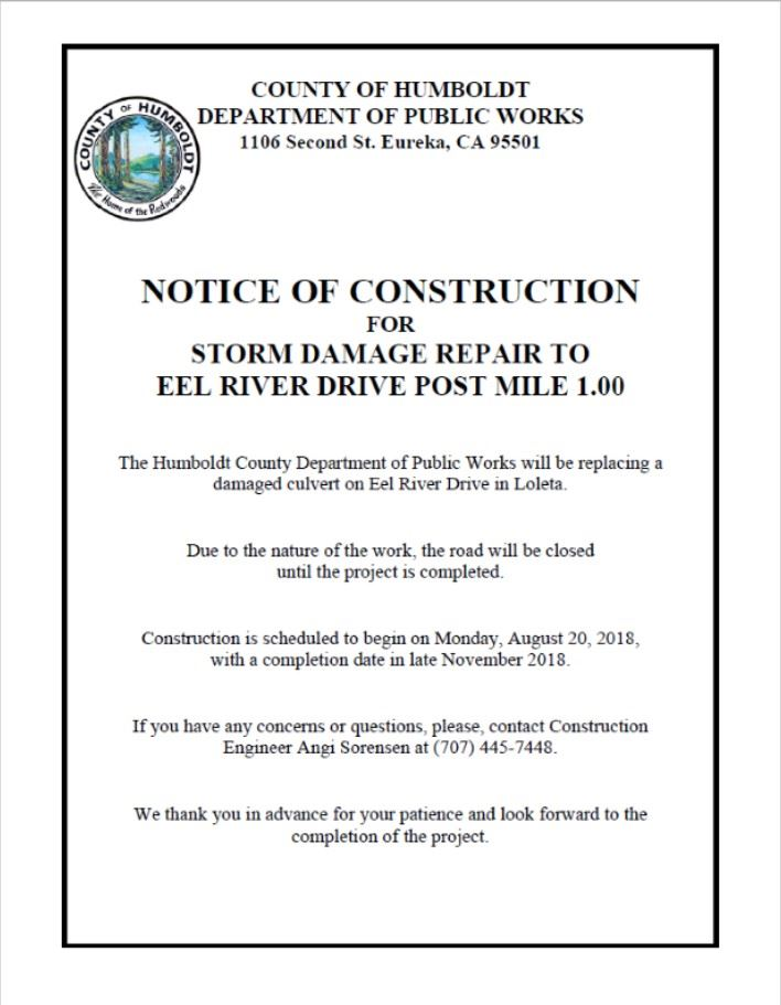 Eel River Drive Notice