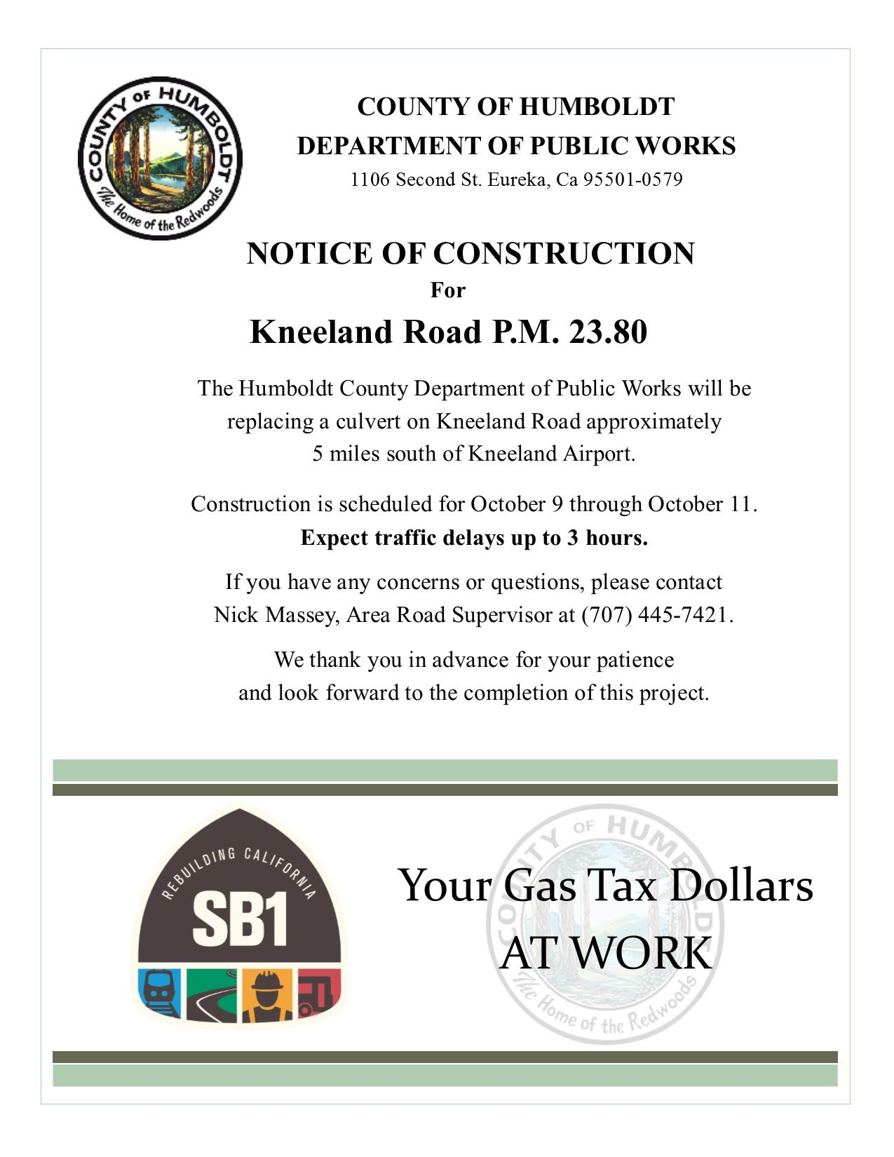 Kneeland Road 23.80 construction flier