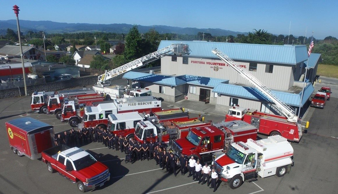 Aerial photo of all Fortuna VFD personnel and apparatuses