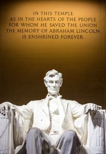 The sculpture of President Abraham Lincoln at the Lincoln Memorial.