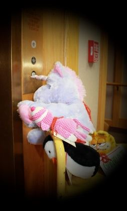 Unicorn used a golden horn to push the elevator button.  Let's go upstairs!