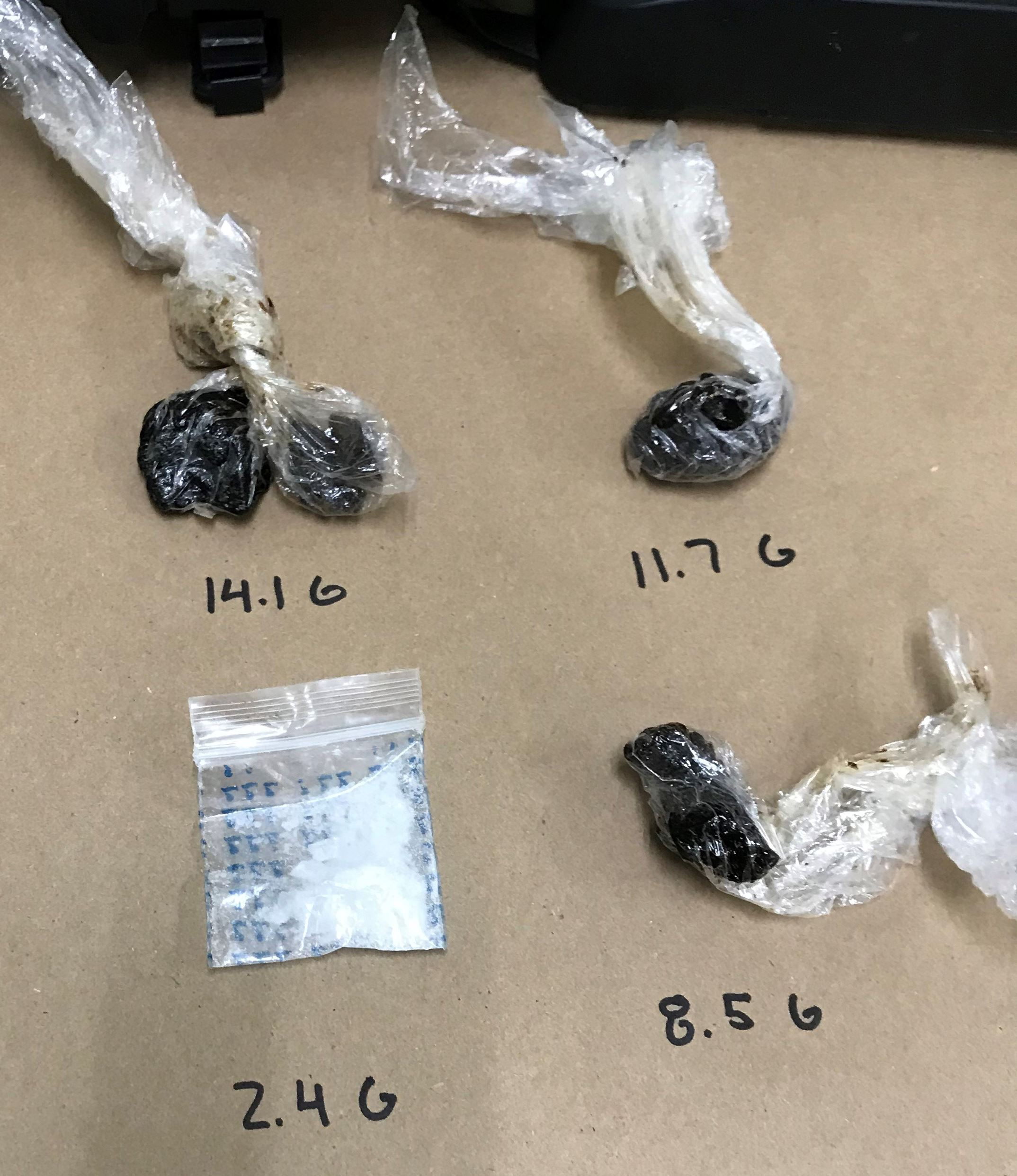 Heroin and Methamphetamine on a table