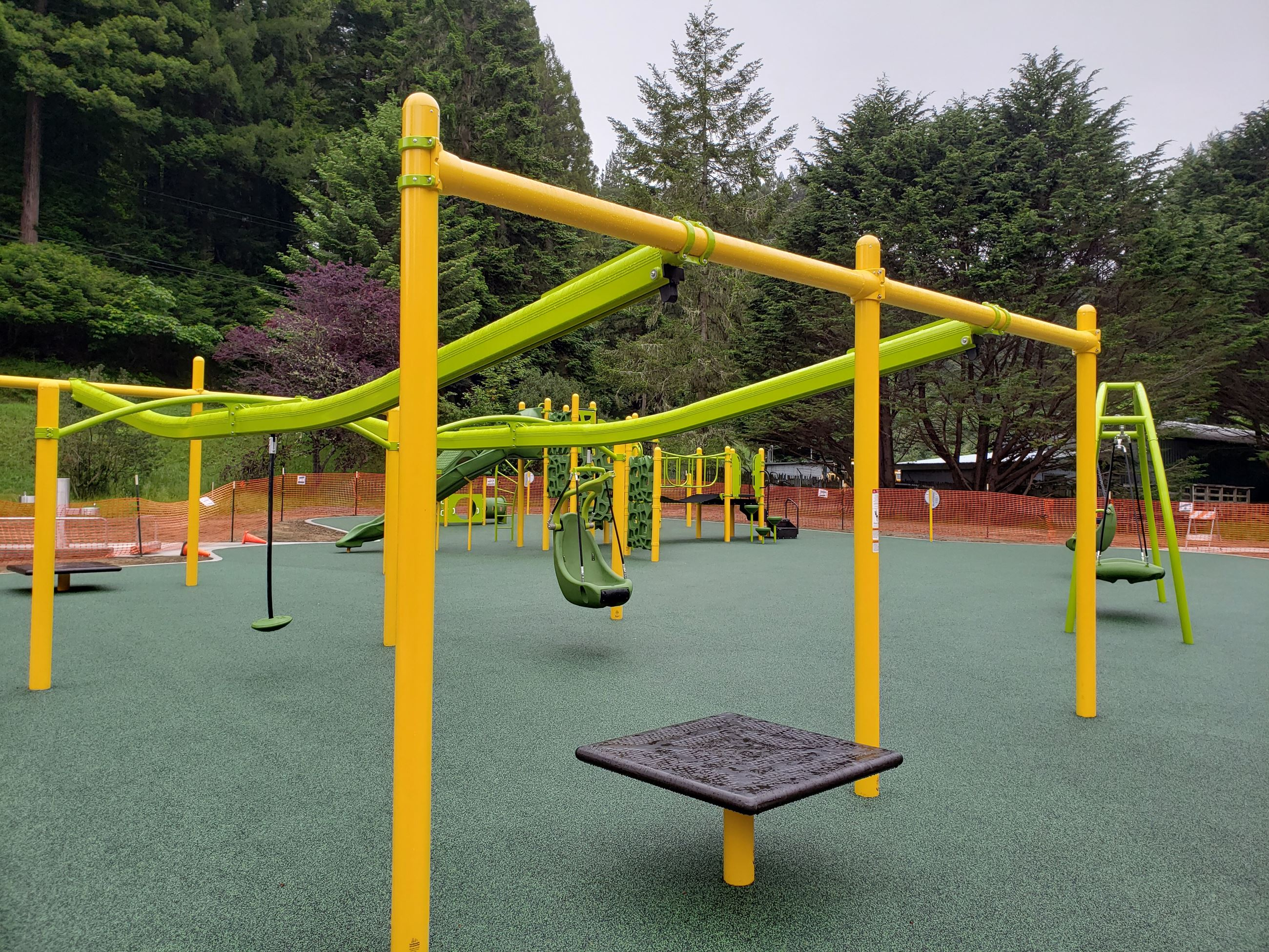 "Freshwater Park's ADA-accessible playground is shown with a platform and ""zip line"" feature"