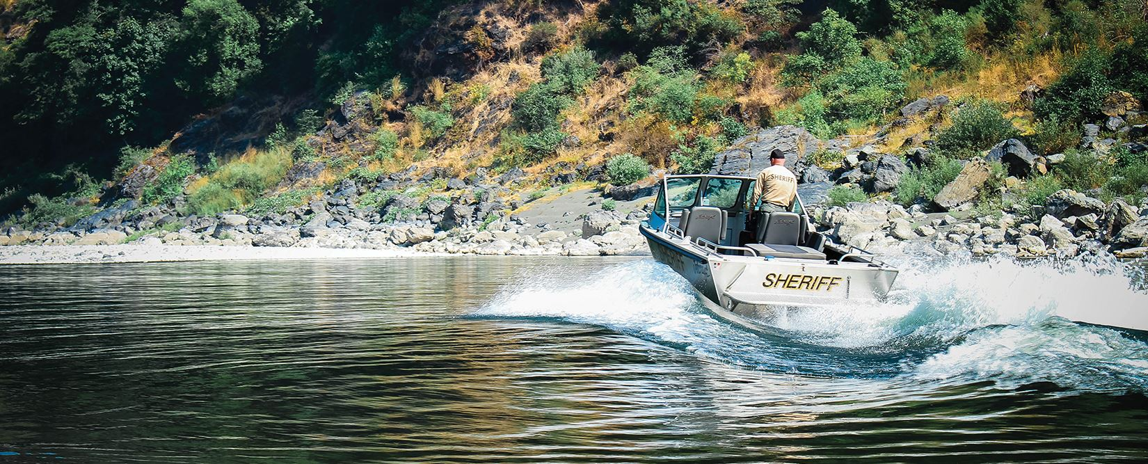The Sheriff's Jet boat navigates a river