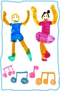 Two children dance among musical notes in a spirited drawing by a child
