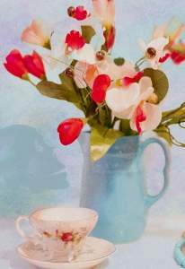 Life, death, a cup of tea and a vase of flowers.