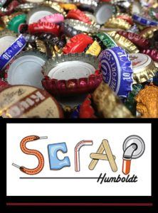 Scrap Humboldt's logo over a bin of colorful bottle caps promises fun for all ages.