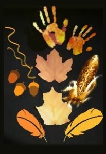 A child's handprints, leaf and acorn shapes, and other fall craft ideas.