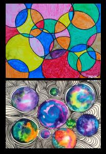 Two drawings based on circles show the versatility & fun of the zentangle idea.