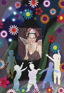 Shoshanna with fairy wings, flowers, and children dancing
