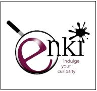 Enki's logo, the name enki with a magnifying glass over the e and an ink-blot as the dot of the i