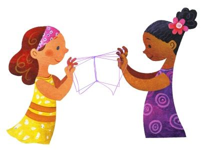 Two girls play a string game, creating a book instead of a cat's cradle.