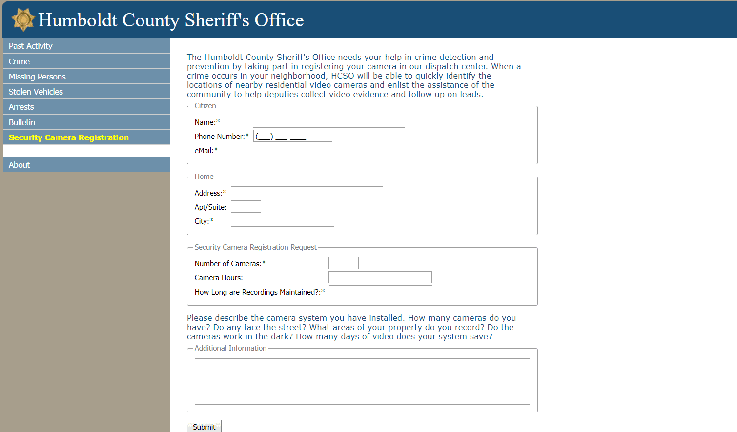 A screenshot of the online security camera registration form